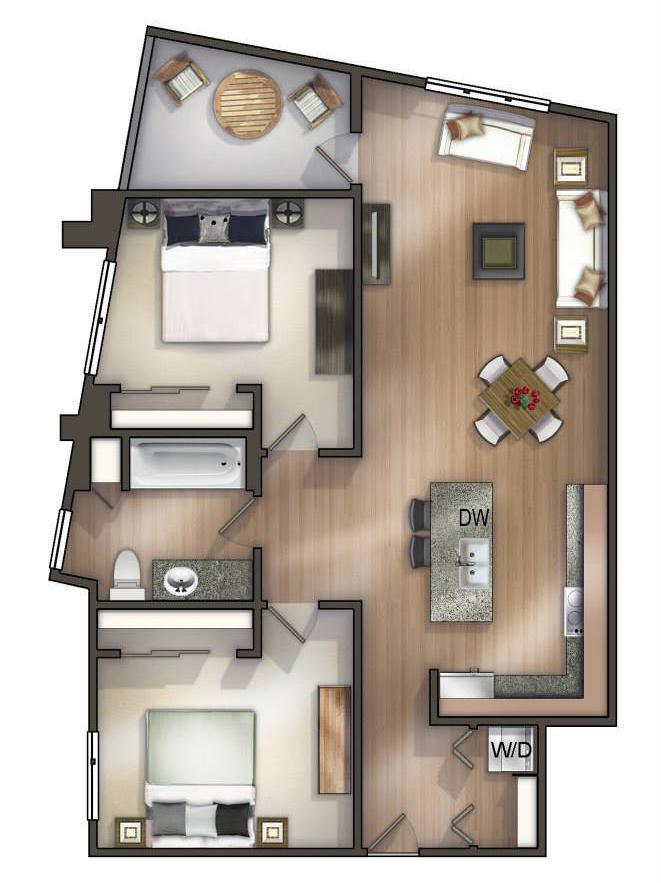 An option for a 2-bedroom apartment at Corner 365. The building's first tenant moved in this week.