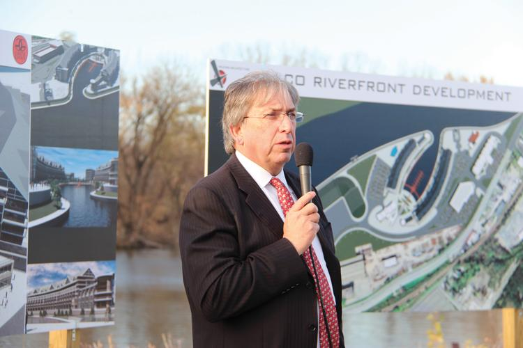 David Buicko of the Galesi Group detailed plans for the Mohawk riverfront in Schenectady that include a harbor, retail, housing and a film studio.
