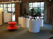 Office furniture, including the Spun chair, is on display at Workscapes' new showroom in Downtown Jacksonville.