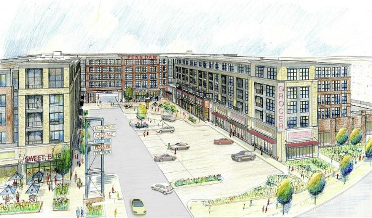 An aerial rendering of the proposed Penn Daw Plaza from Combined Properties, the 10-acre shopping center's longtime owner.