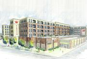 A wide view of the multi-family buildings proposed as part of Combined Properties Penn Daw Plaza redevelopment.