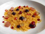 This is Esquire Grill's playful twist on peanut butter and jelly, featuring bread crumbs tossed in peanut oil, dotted with dabs of jelly and grapes.