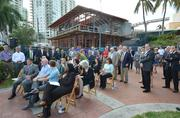 The crowd at the topping off of the Huizenga Pavilion .