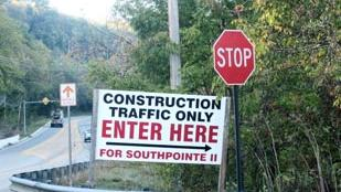 A construction sign directs traffic for Southpointe II.