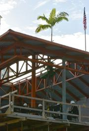 The palm tree symbolizes that the highest beam has been placed in the Huizenga Pavilion.