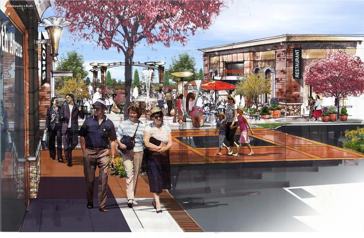 A rendering of Crosstrail's main plaza. The Peterson Cos.' proposal for 550,000 square feet of retail and 100,000 square feet of office is moving through the Loudoun pipeline, despite concerns.