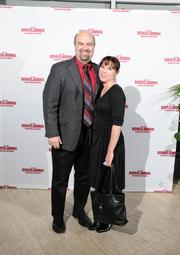 Dan Schiavone with The Design Knowledge Co. and his wife Leah on the red carpet at the Dayton Business Journal's Business of the Year event.