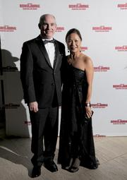 Joanne Li of the Raj Soin College of Business at Wright State University, and her husband Frank on the red carpet at the Dayton Business Journal's Business of the Year event.