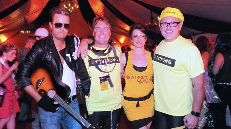 """Matt Pakkala, Jon Whittington,  Aubrey Hawk, and Larry Heim, are seen in this file photo at The Gift Foundation's """"Fame to Claim"""" Halloween fundraiser held at the Republik in October. Planning is underway for this year's fundraiser, and Hawaii nonprofits can apply online to be beneficiaries."""