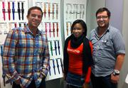 Michael Zucconi, left, PR manager for Swatch U.S. visited the Austin Swatch store Thursday for its launch party. Also pictured are Melody Bryce, a Swatch brand ambassador and store manager Justin Buccolo, right.