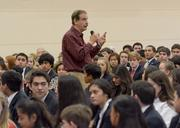 Former Mexican president Vicente Fox talks about his presidency to school children during his stop in Dallas.