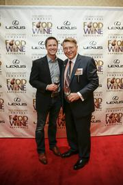 Fuzzy Marek, co-chair of the Vince Lombardi Food & Wine Experience, and Mike Amidzich, owner of Pizza Man