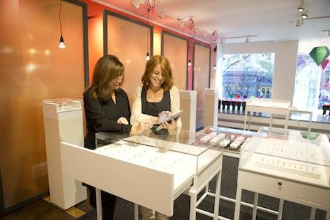 At The Gemvara Experience, a pop-up shop on Newbury Street, customers can try on jewelry and then customize and order pieces through Gemvara.com.