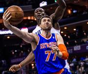 New York Knicks center Andrea Bargani's shot is contested by Charlotte Bobcats center Bismack Biyombo.