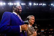 New York Knicks announcers Walt Frazier and Mike Breen do a pregame segment at Time Warner Cable Arena Friday night.