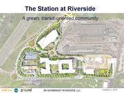 An artist rendering of the proposed redevelopment of an 11-acre parcel at Riverside MBTA Station.