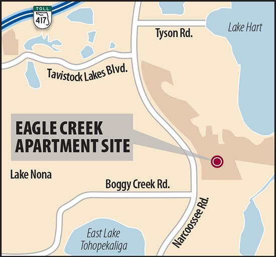 Developer Emerson International Inc. is building 268 apartments at its Eagle Creek Golf Club master-planned community across the street from Lake Nona's Medical City.