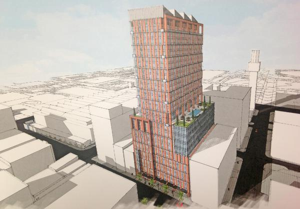 An artist's rendering of a planned 29-story tower on Baltimore's west side proposed by David S. Brown Enterprises Ltd.