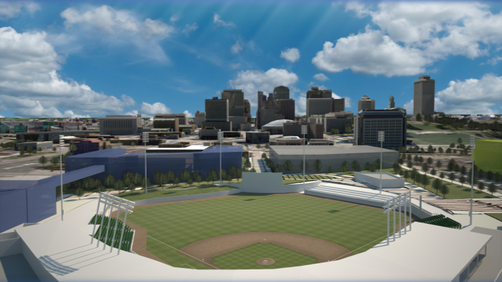 A rendering of the proposed new ballpark for the Nashville Sounds in the Sulphur Dell area.