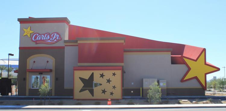Carl's Jr. will open a sports-themed new restaurant with a striking exterior design in Glendale this week.