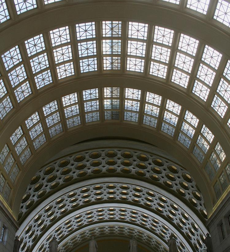 The gold leaf on Union Station's ceiling will be replaced.