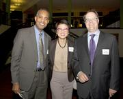 Sacramento Municipal Utility District chief workforce officer Gary King, California Community Colleges vice chancellor Van Ton-Quinlivan and Saints Capital cofounder David Quinlivan pose at the American Leadership Forum awards dinner.