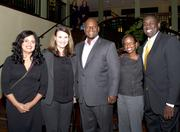 Delia Estrada, with Sutter Health, Five Star Bank vice president of communications and community relations manager Erica Taylor, AHI Construction president and general manager Mark Adams, PG&E senior government relations representative Alisa Okelo-Odongo and SMUD environmental management specialist Jose Bodipo Memba pose at the American Leadership Forum awards dinner.