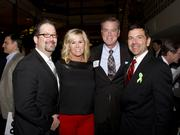 Wells Fargo vice president of business banking Clifford Cooper, Wells Fargo vice president Kimberly Giminez, Wells Fargo executive vice president of business banking Randall E. Reynoso and California Mental Health Directors Association executive director Robert Oakes pose at the American Leadership Forum awards dinner.