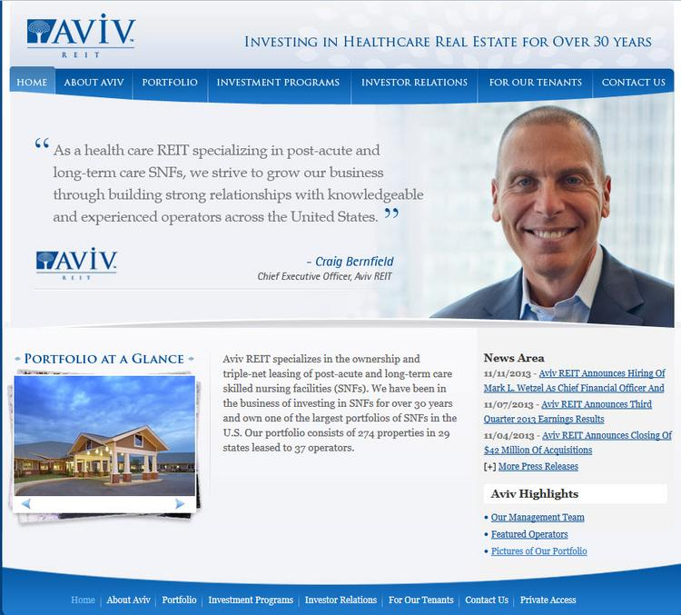 Aviv REIT's web site includes photographs of the publicly traded company's portfolio of health care facilities.