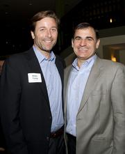 Sacramento Food Bank and Family Services president and CEO Blake Young and Five Star Bank senior vice president Mike Rizzo pose at the American Leadership Forum awards dinner.