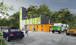 The Truck Stop, a new food-service concept coming to Midtown, will combine a brick-and-mortar restaurant with space for food trucks.