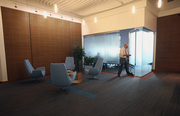 Frosted glass adds some privacy to the conference room and reception waiting area.