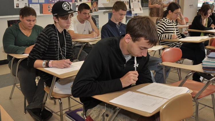 Spanish class at Clayton A. Bouton High School in the Voorheesville Central School District in suburban Albany County.