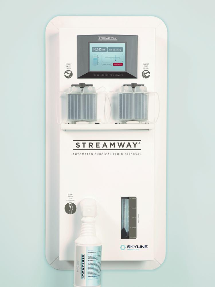 Skyline Medical's wall-mounted Streamway system sends medical waste directly down the drain.