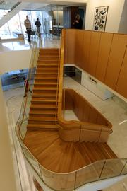 This stairway defines much of the space at Polsinelli's new Plaza Vista headquarters.
