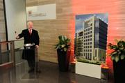 """Polsinelli PC opened its much anticipated Plaza Vista headquarters with a """"turn on the lights"""" ceremony, which Chairman Russ Welsh said is a nod to the Kansas City Plaza lights tradition."""