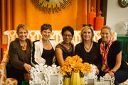"""From left, """"Washington Business Report"""" anchor and reporter Rebecca Cooper, Hilary Howard of WTOP, Andrea Roane of WUSA9, Sue Palka of Fox 5 and Laura Evans of Fox 5, at Urban Country."""