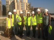 From left, Tara Schmitz, Chris Rothrock, Ashley Smith, Sabena Toor, Rachel Luxenburg, Steve Blumberg and Ashley Banek, all of LM&O, suited up for their tour.