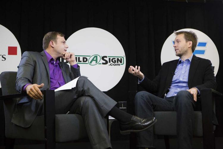 BuildaSign CEO Dan Graham speaks with ABJ Editor Colin Pope during Tuesday's ABJ Face 2 Face discussion in Austin.