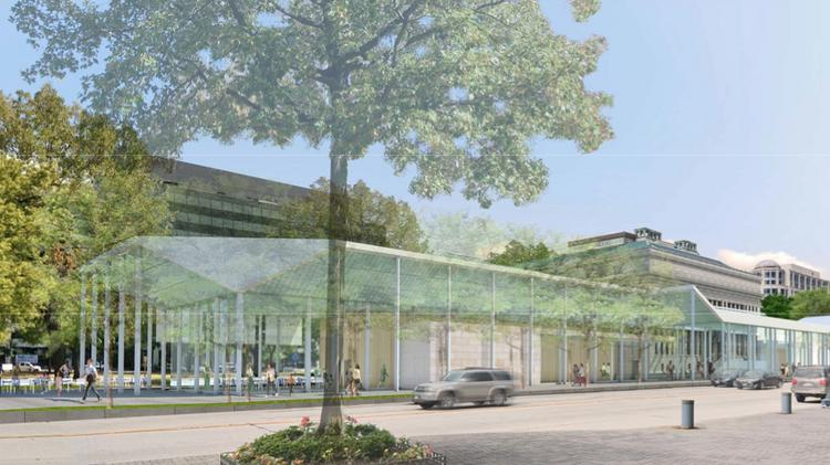 A view of the proposed addition to the Carnegie Library addition from the Walter E. Convention Center from an earlier rendering. Architects have since updated the design to lower the roof on the addition to the north side.