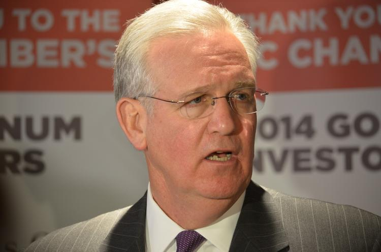 "Missouri Gov. Jay Nixon answers questions about his proposal for ending the economic development ""Border War"" after an address to the Greater Kansas City Chamber of Commerce on Tuesday at Westin Crown Center."
