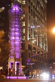 The Tower of Light glows in downtown Orlando.