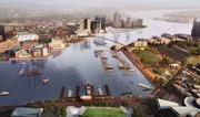 An artist's rendering of a proposal to connect Rash Field and Harbor East with a pedestrian bridge. The Inner Harbor 2.0 plan also shows additional improvements.