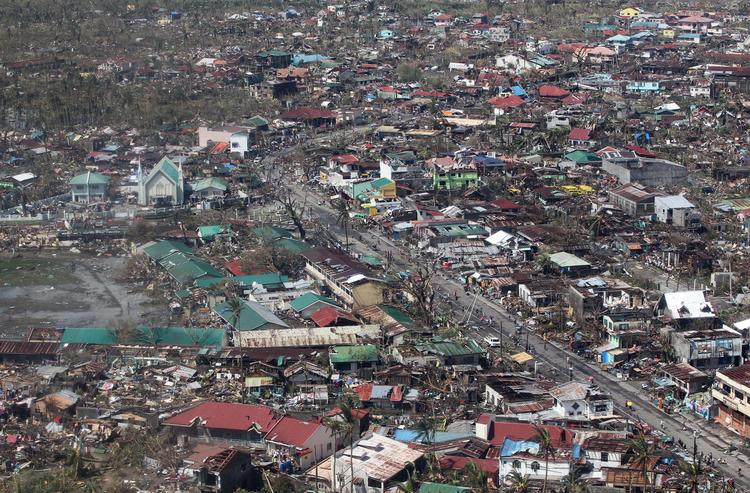 An aerial shot of the province of Leyte shows the extent of damage brought by Super Typhoon Haiyan in Leyte province, the Philippines, on Sunday, Nov. 10, 2013. The desperation among survivors in Tacloban in Leyte province that bore the brunt of gale force winds and storm surges, led President Benigno Aquino to declare a state of calamity on Nov. 11 and plead with locals to be patient.