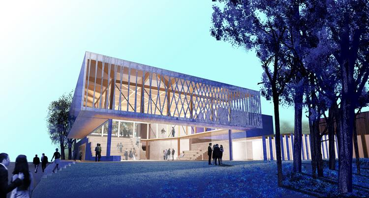 """Architect Jeanne Gang has designed a new home for Writers Theatre with a """"Theater in a Park"""" atmosphere."""
