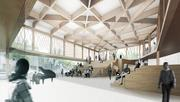 Giant wooden trusses are a significant design feature of the lobby of Writers Theatre's new facility.