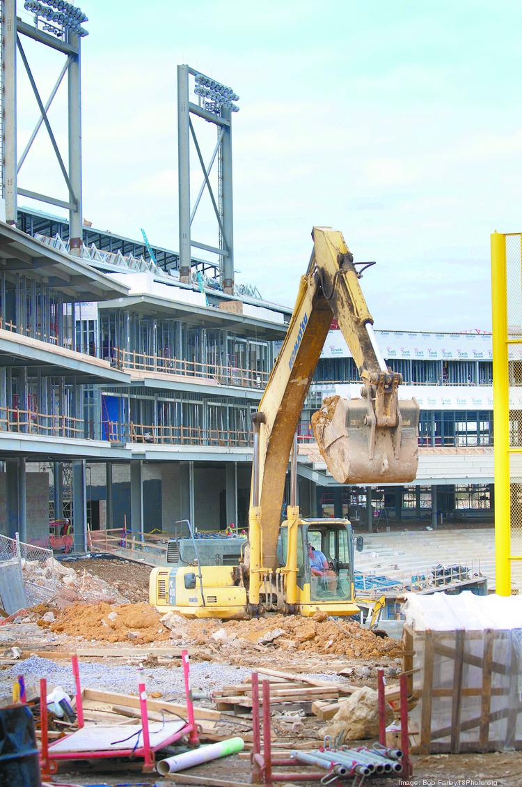 Construction work at Regions Field earlier this year.