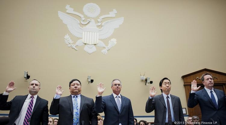 Information technology officials who work on HealthCare,gov -- including Todd Park, the White House's chief technology officer, second from right -- prepare to testify before the House Oversight and Government Reform Committee.