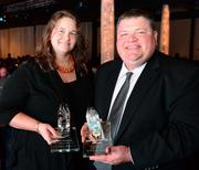 Pam Kruseck (left), with Atlanta Symphony Orchestra, was named 2013 Volunteer of the Year; Richard Maples, executive vice president of sales for Shepard Center, the 2013 member of the year award winner.