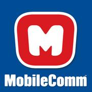 """MobileComm's new logo matches the """"M"""" emblazoned on MobileComm Man's chest."""